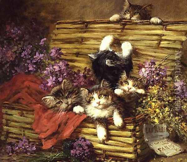 Kittens at Play Oil Painting - Leon Charles Huber