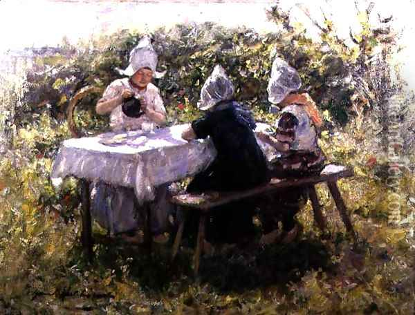 The Tea Party Oil Painting - Robert Gemmell Hutchison