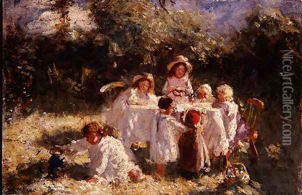 The Young Arcadians Oil Painting - Robert Gemmell Hutchison