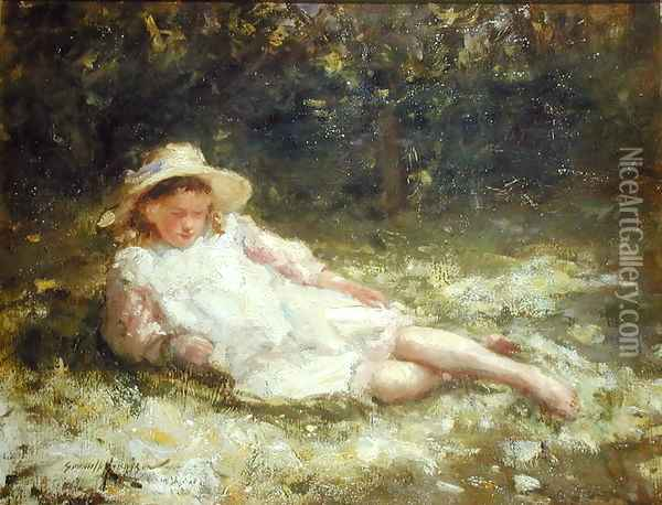 Idle Moments Oil Painting - Robert Gemmell Hutchison