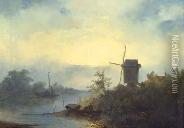 Smoking eels on a river in moonlight Oil Painting - Johannes Franciscus Hoppenbrouwers