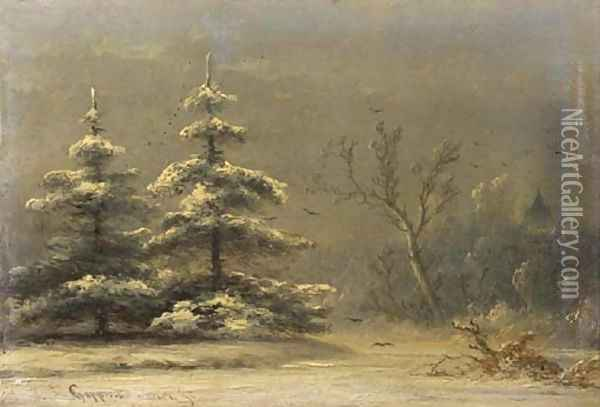 Snowcovered pine-trees in a winter landscape Oil Painting - Johannes Franciscus Hoppenbrouwers