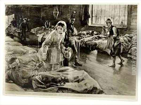 The heroine of Fifty Years Ago Miss Florence Nightingale in the Hospital at Scutari Oil Painting - William Hatherell