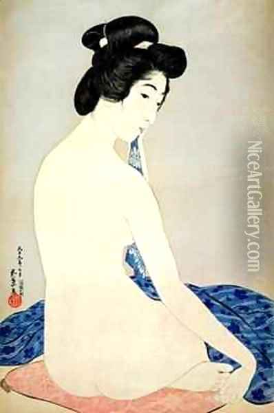 Woman after the bath Oil Painting - Goyo Hashiguchi