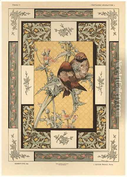 Birds plate 35 from Fantaisies decoratives Oil Painting - Jules Auguste Habert-Dys