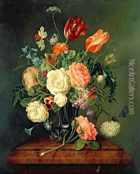 Still Life with Mixed Flowers Oil Painting - Josef Holstayn