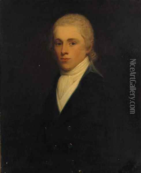 Portrait of a gentleman, traditionally identified as Sir John Twung, bust-length, in a black jacket and white cravat Oil Painting - John Hoppner