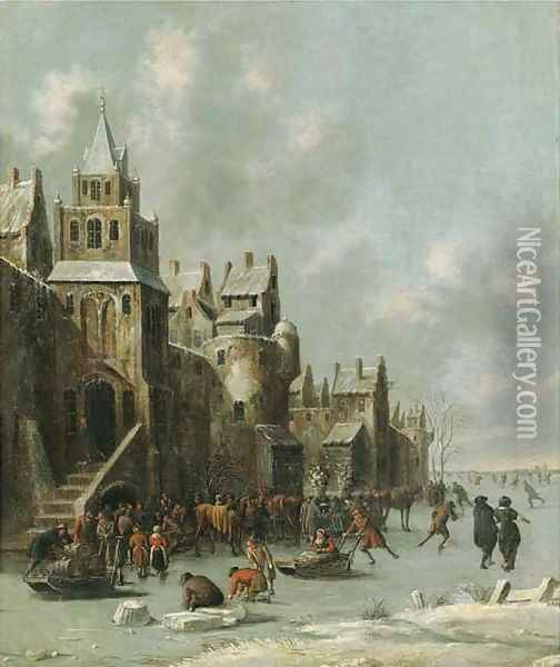 Townsfolk skating and sledging on a frozen moat before a town wall Oil Painting - Thomas Heeremans