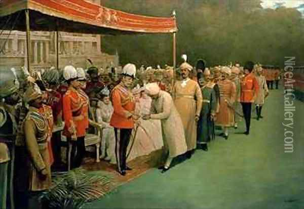 Edward VII receiving Maharajahs and Dignitaries Prior to his Coronation