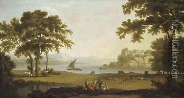 A landscape with figures at rest by sheep and cattle, boating on a lake and a hilltop fort beyond Oil Painting - Jakob Philippe Hackert