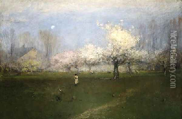 Spring Blossoms, Montclair, New Jersey Oil Painting - George Inness