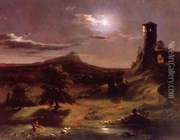 Moonlight in Virginia Oil Painting - George Inness