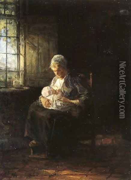 Motherhood Oil Painting - Jozef Israels