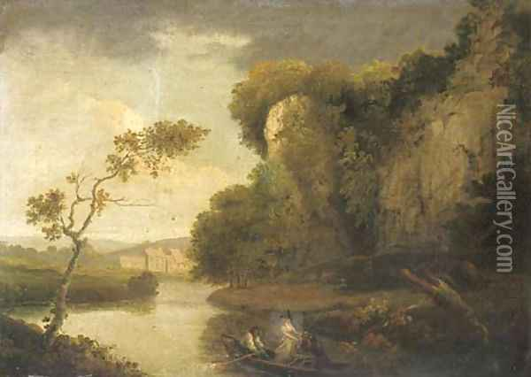 Figures in a rowing boat in a river landscape Oil Painting - Julius Caesar Ibbetson