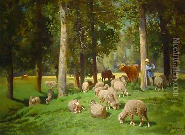 Landscape with Sheep Oil Painting - Charles Emile Jacque