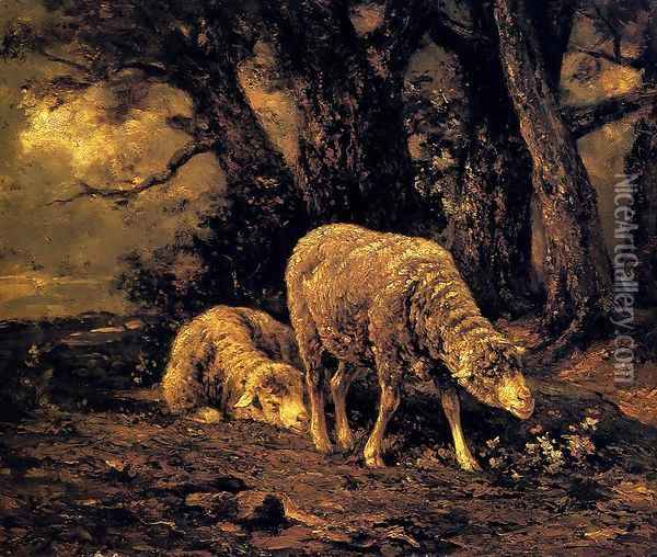 Sheep In A Forest Oil Painting - Charles Emile Jacque
