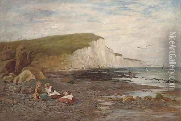 Children on the beach Oil Painting - William Samuel Jay