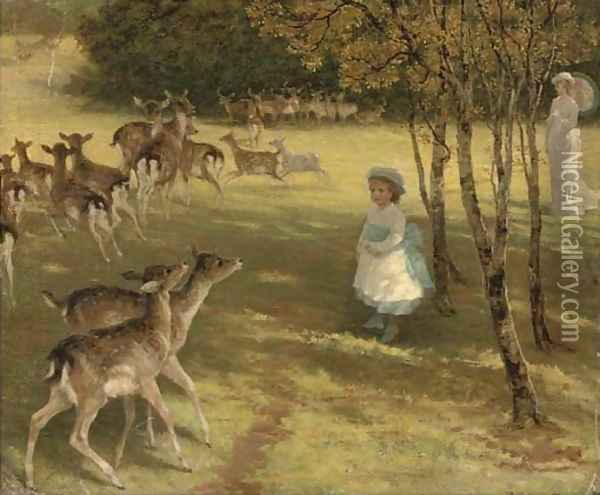 Feeding the deer in the park Oil Painting - William Samuel Jay