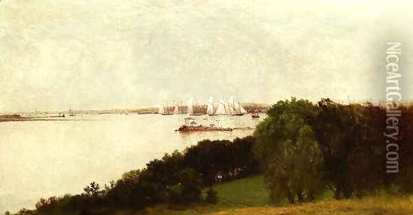 Newport Harbor and the Home of Ida Lewis Oil Painting - John Frederick Kensett