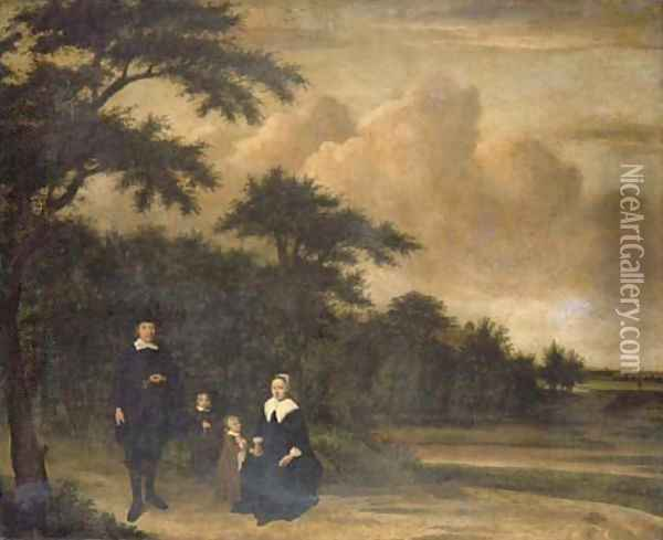 A group portrait of a gentleman and a lady with their children in an extensive wooded landscape Oil Painting - Philips Koninck