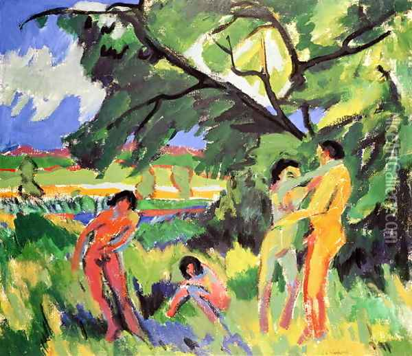 Nudes Playing under Tree Oil Painting - Ernst Ludwig Kirchner
