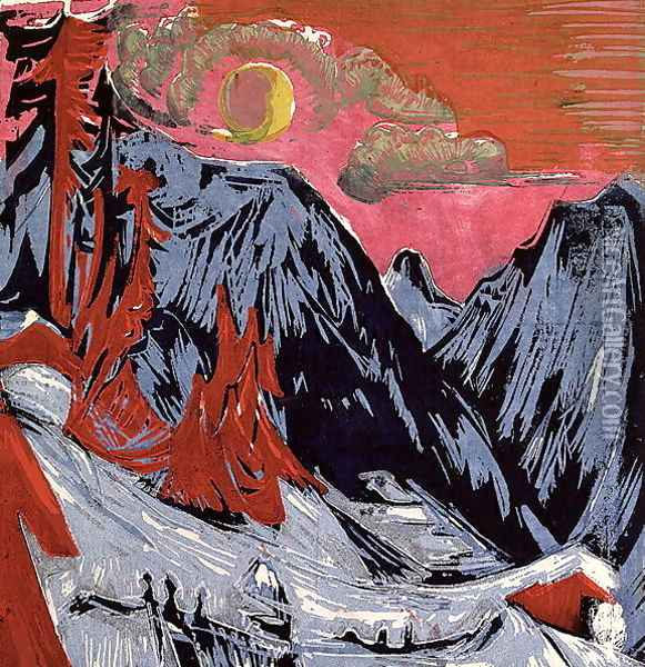 Mountains in Winter Oil Painting - Ernst Ludwig Kirchner
