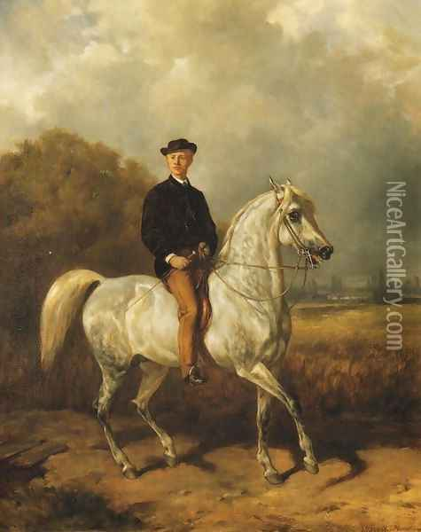 Portrait of a Man on Horseback Oil Painting - Juliusz Kossak