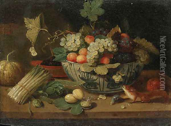 A bowl of fruit, a bundle of asparagus, an artichoke, a bowl of figs, a squirrel, a melon and a sprig of plums on a ledge Oil Painting - Jan van Kessel
