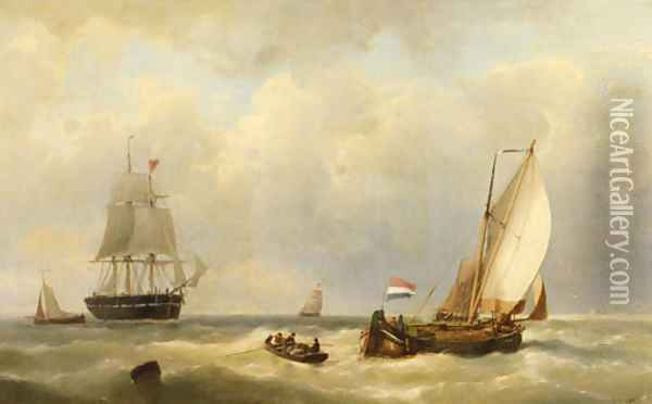 Sailors in a rowingboat approaching a three-master at sea Oil Painting - Johannes Hermanus Koekkoek