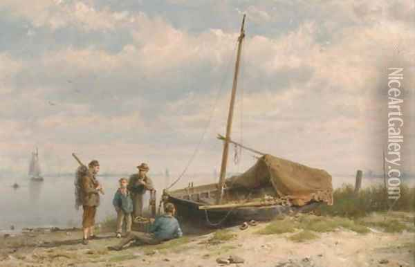 Fishermen along a shoreline Oil Painting - Hermanus Koekkoek