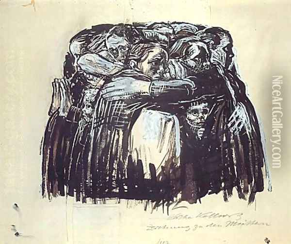 The Mothers Oil Painting - Kathe Kollwitz