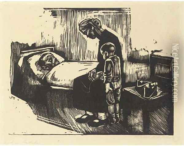 Besuch im Krankenhaus Oil Painting - Kathe Kollwitz