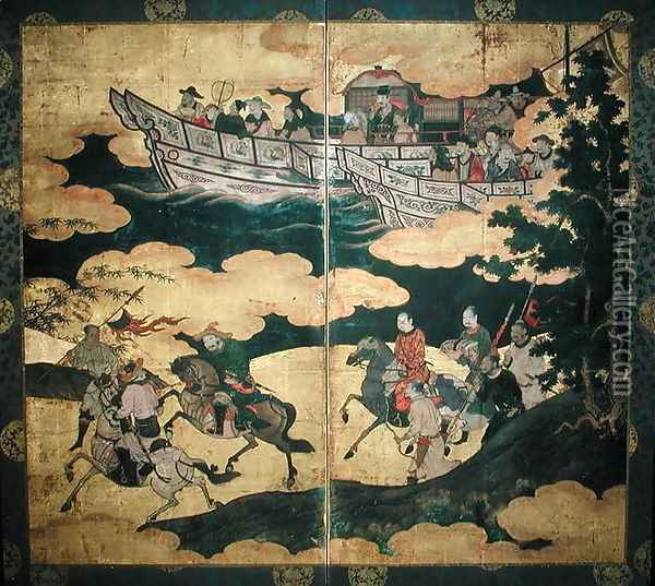 Tartar Envoys Arriving in Ships Their Advance Party Ashore Momoyama Period Oil Painting - Eitoku Kano
