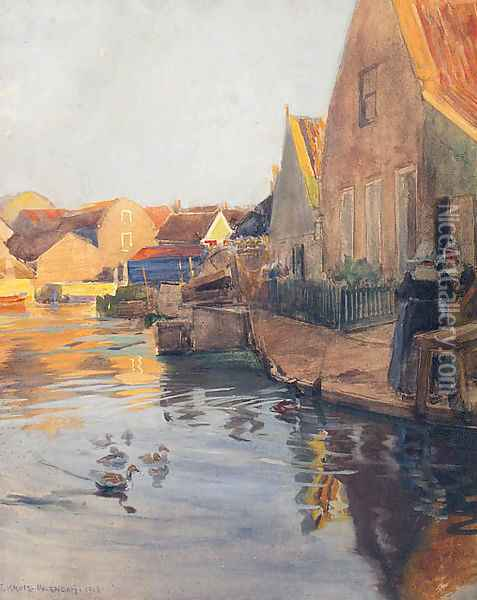 A Dutch Town On A Canal Oil Painting - Ferdinand Kruis