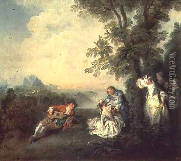 Merrymakers on the Edge of a Forest Oil Painting - Nicolas Lancret