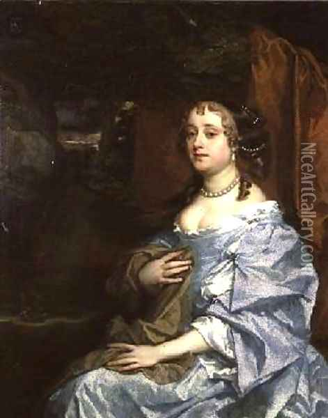 Lady Kiligrew Hesse in a blue dress Oil Painting - Sir Peter Lely