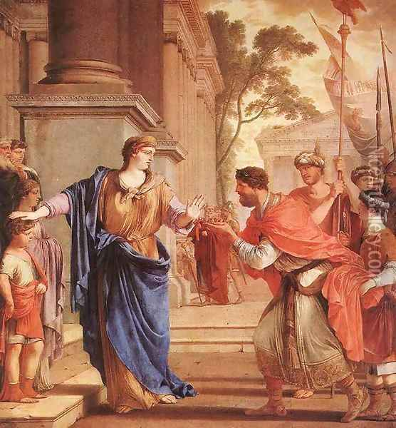 Cornelia Refusses the Crown of the Ptolomai 1646 Oil Painting - Laurent De La Hire