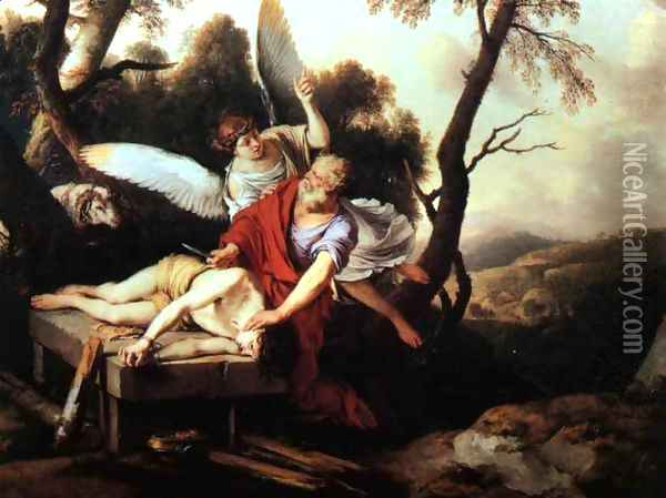 Abraham Sacrificing Isaac 1650 Oil Painting - Laurent De La Hire
