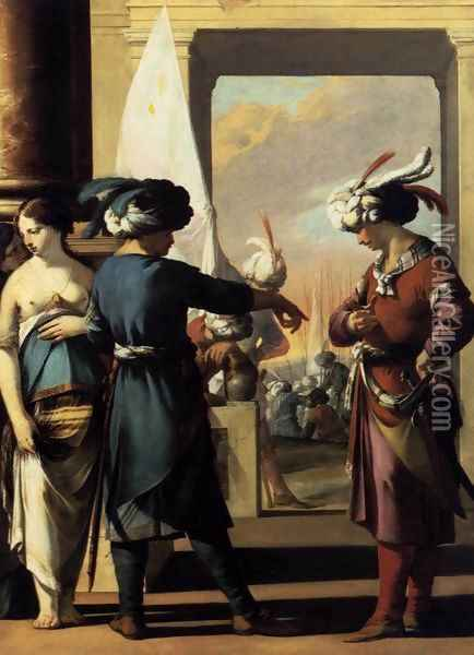 Cyrus Announcing to Araspas that Panthea Has Obtained His Pardon 1631-34 Oil Painting - Laurent De La Hire