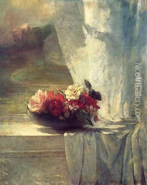 Flowers In A Persian Porcelain Water Bowl Aka Flowers On A Windowsill Oil Painting - John La Farge