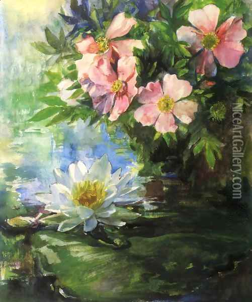 Wild Roses And Water Lily Study Of Sunlight Oil Painting - John La Farge