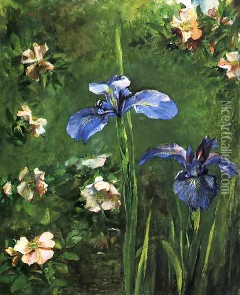 Wild Roses and Irises 1887 Oil Painting - John La Farge