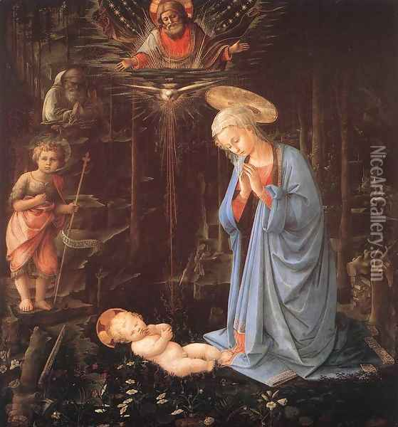 Madonna in the Forest c. 1460 Oil Painting - Fra Filippo Lippi