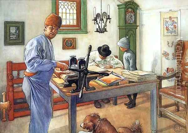 Where I Do My Etching Oil Painting - Carl Larsson