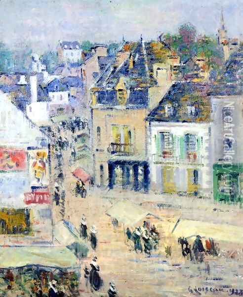 Pont-Aven, Grey Weather Oil Painting - Gustave Loiseau