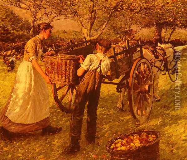 A Sussex Orchard Oil Painting - Henry Herbert La Thangue