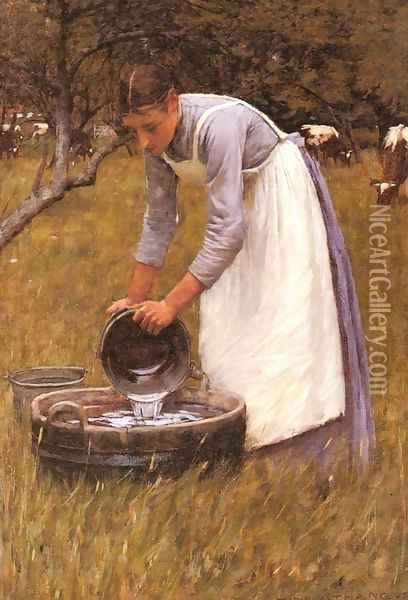 Watering the Cows Oil Painting - Henry Herbert La Thangue