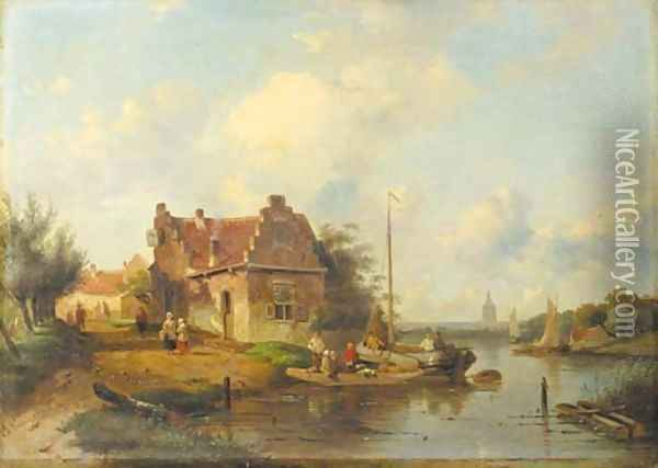 A river landscape with a ferry, a town beyond Oil Painting - Charles Henri Leickert