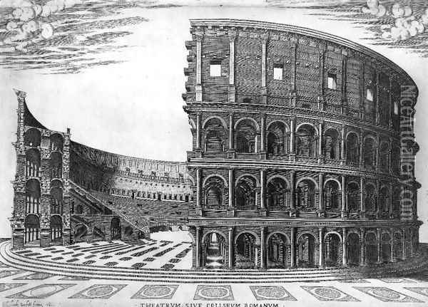 The Colosseum in Rome 1564 Oil Painting - Antonio Lafreri
