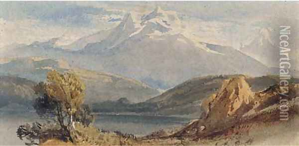 A lake before snow-capped mountains Oil Painting - William Leighton Leitch